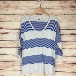 Old Navy Split Hem Sweater Striped V Neck Large